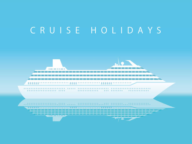Cruise liner in the sea with text space. Cruise liner in the sea with text space, vector illustration. cruise vacation stock illustrations