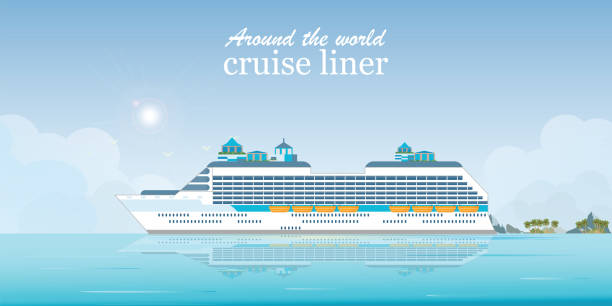 Cruise liner passenger ship. Cruise liner passenger ship, Sea Voyage, Ocean traveling visual vector illustration. cruise vacation stock illustrations