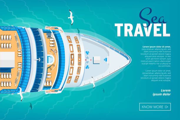 Cruise liner travel banner Colorful Travel to Paradise. Cruise liner. Best cruise. Vector flat banner for your business cruise vacation stock illustrations
