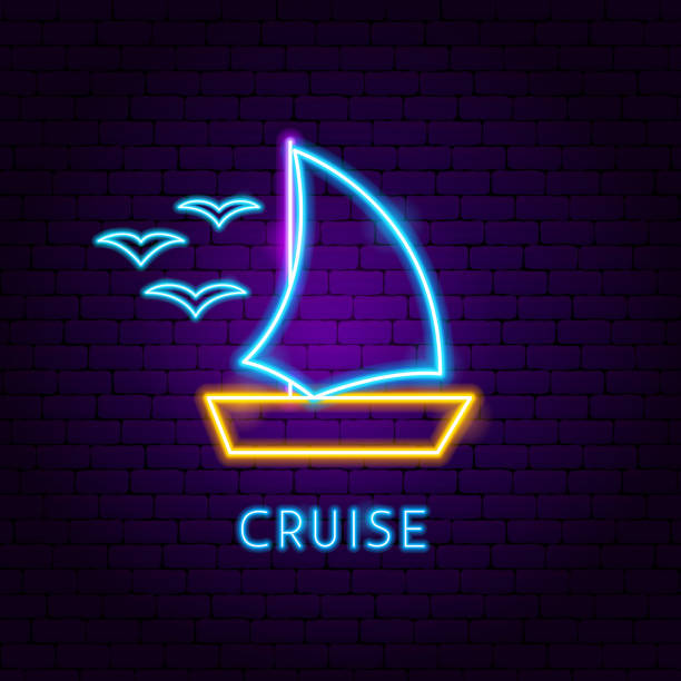 Cruise Neon Label vector art illustration