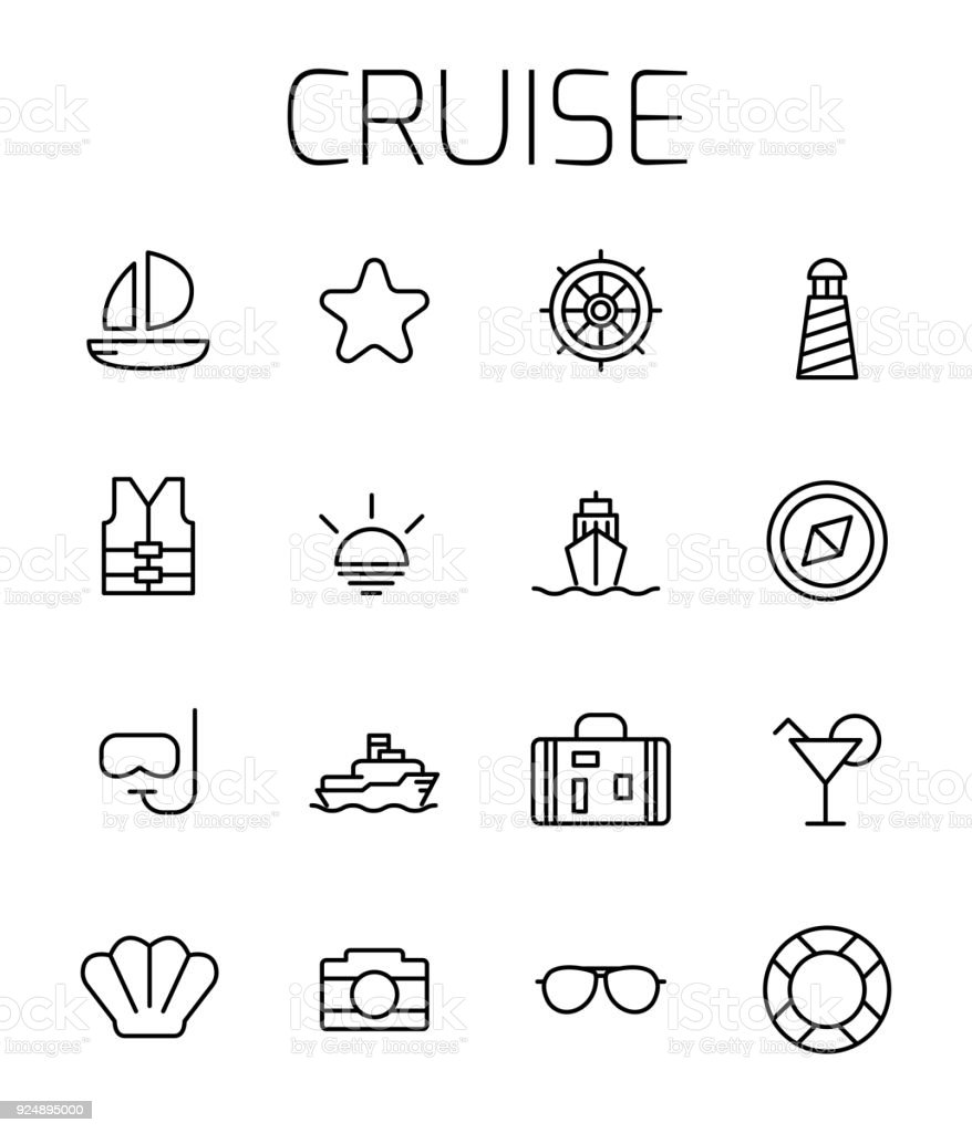 Cruise related vector icon set. vector art illustration