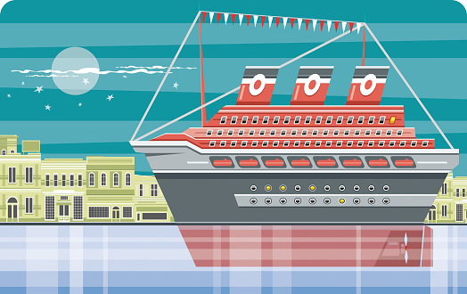 Easy editable cruise ship  and town vector illustration. All elements was layered seperately...