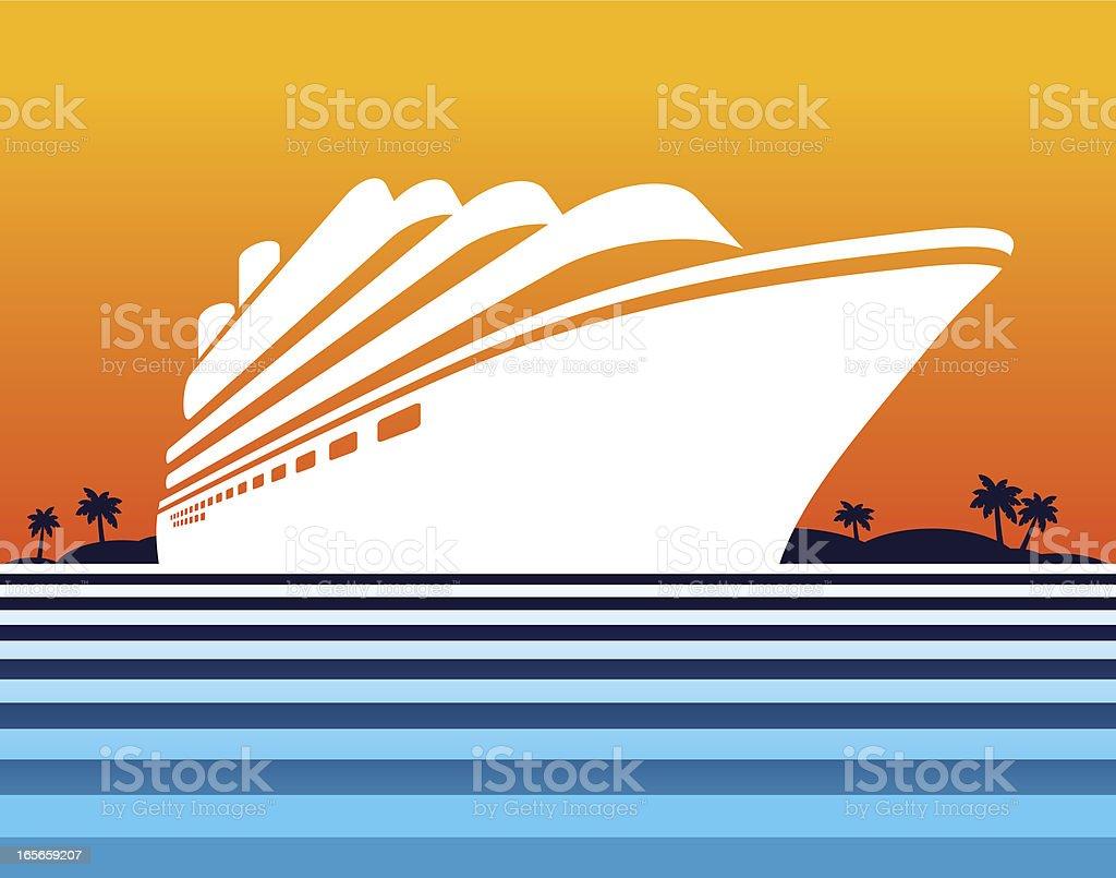 Cruise ship at sunset royalty-free stock vector art