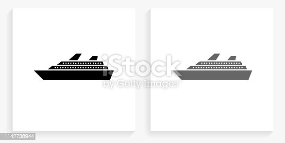Cruise Ship Black and White Square Icon. This 100% royalty free vector illustration is featuring the square button with a drop shadow and the main icon is depicted in black and in grey for a roll-over effect.