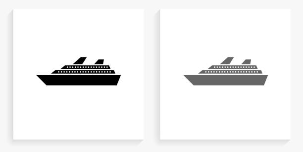 Cruise Ship Black and White Square Icon vector art illustration