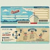 Cruise ship boarding pass design template