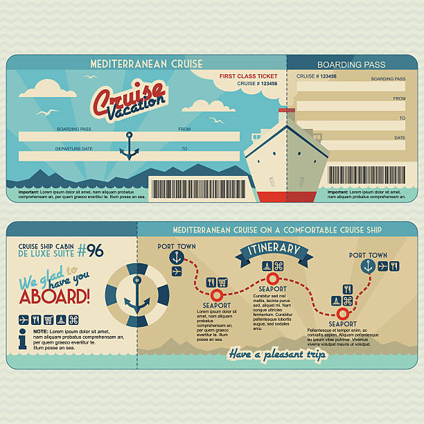 Cruise ship boarding pass design template Cruise ship boarding pass flat graphic design template. Face and back side airplane ticket stock illustrations