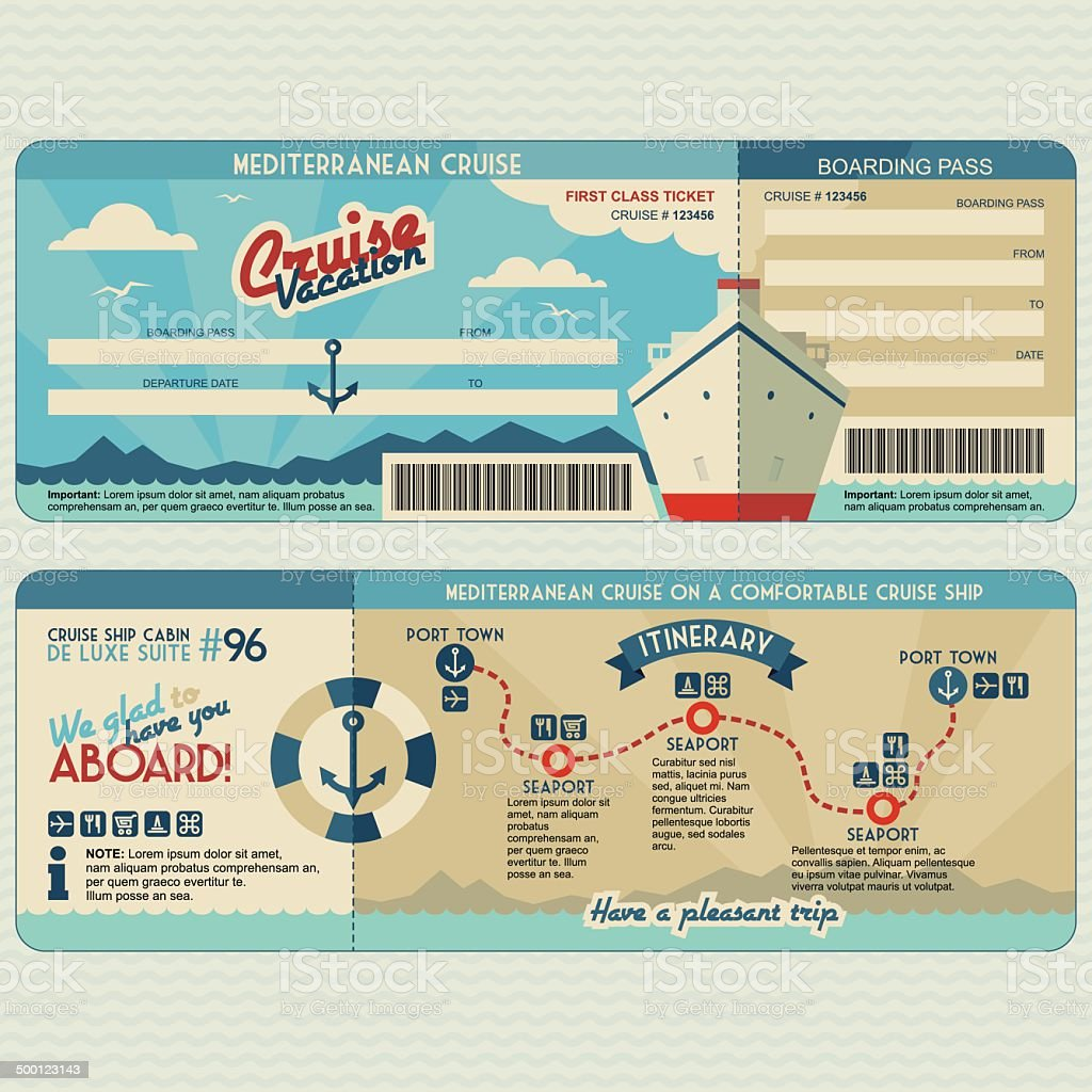 Cruise ship boarding pass design template vector art illustration