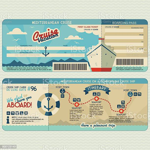 Cruise Ship Boarding Pass Design Template Stock Illustration - Download Image Now
