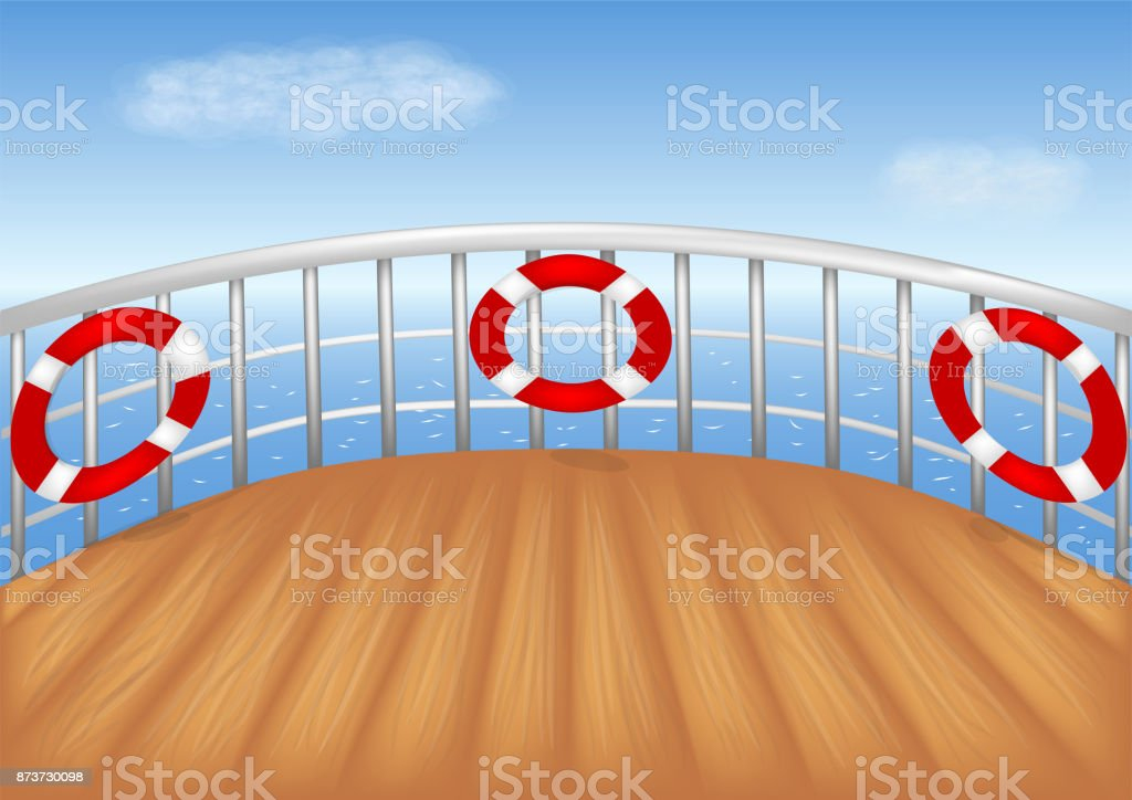 cruise ship deck vector art illustration