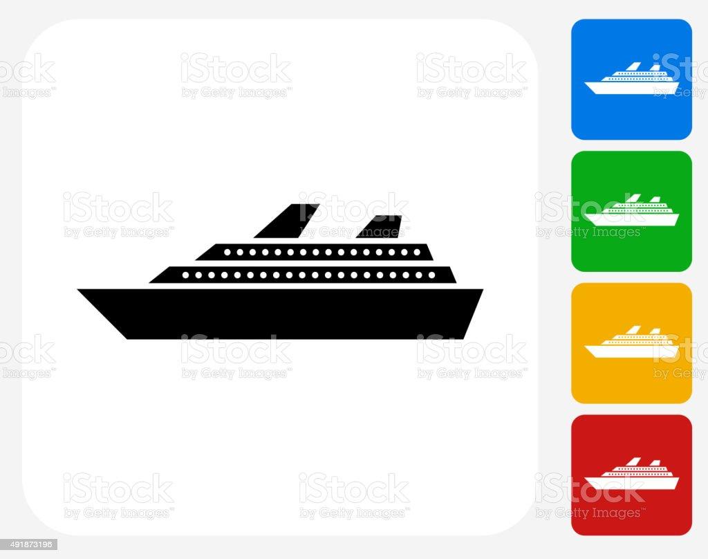 Cruise Ship Icon Flat Graphic Design vector art illustration