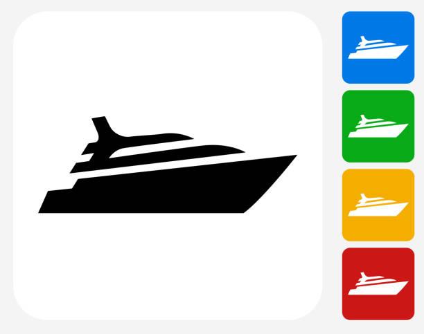 illustrations, cliparts, dessins animés et icônes de navire de croisière icônes graphiques plates - voilier à moteur