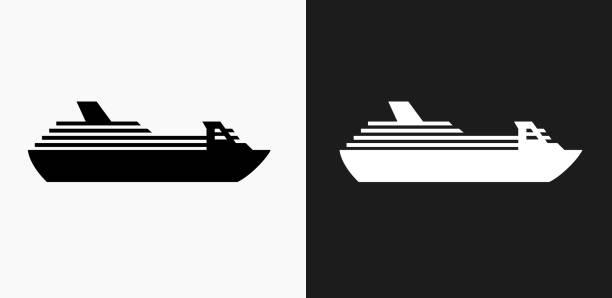 illustrations, cliparts, dessins animés et icônes de navire de croisière icône sur noir et blanc vector backgrounds - croisière