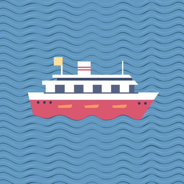 stockillustraties, clipart, cartoons en iconen met cruise schip pictogram - rondvaartboot