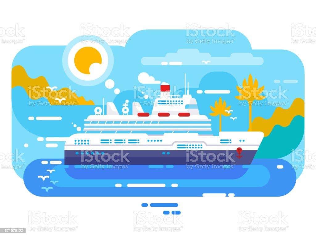 Cruise ship in sea design flat vector art illustration