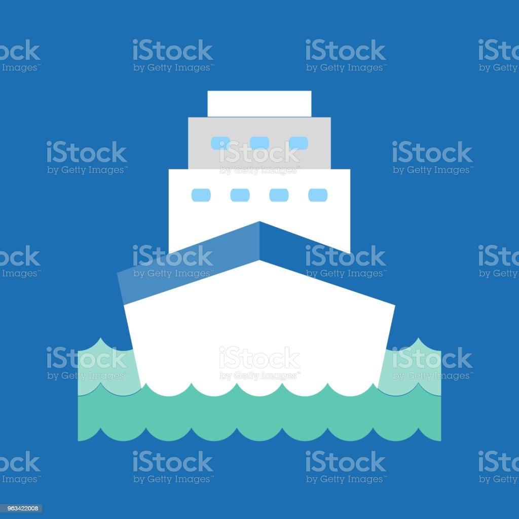 Statek wycieczkowy w ikonie fali morskiej, wektor płaskiej konstrukcji - Grafika wektorowa royalty-free (Podróżowanie)