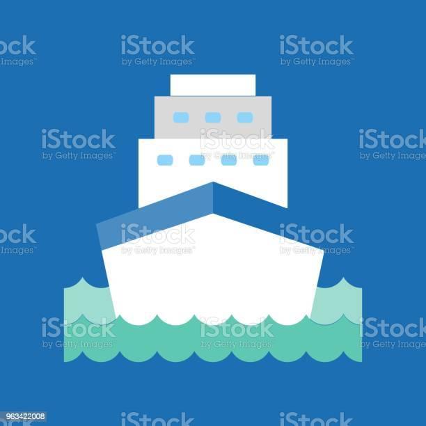 Statek Wycieczkowy W Ikonie Fali Morskiej Wektor Płaskiej Konstrukcji - Stockowe grafiki wektorowe i więcej obrazów Podróżowanie