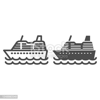 istock Cruise ship line and solid icon, ocean concept, Marine sail boat sign on white background, sea cruise liner icon in outline style for mobile concept and web design. Vector graphics. 1245592045