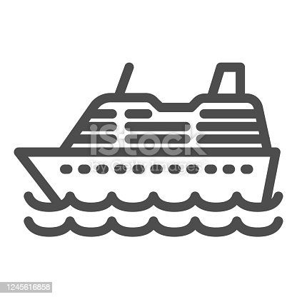 istock Cruise ship line icon, ocean concept, Marine sail boat sign on white background, sea cruise liner icon in outline style for mobile concept and web design. Vector graphics. 1245616858