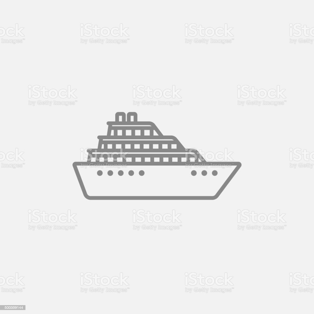 Cruise ship line icon vector art illustration
