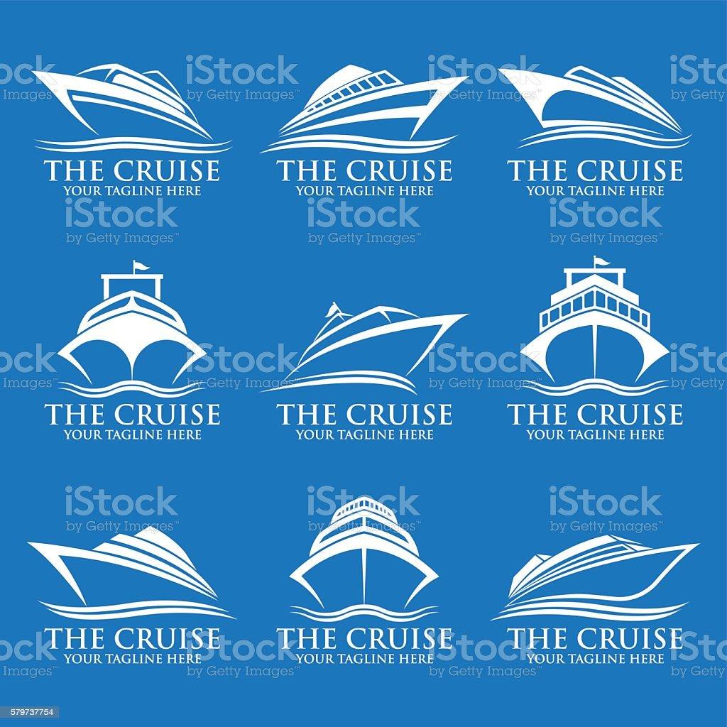 Cruise ship logos vector art illustration
