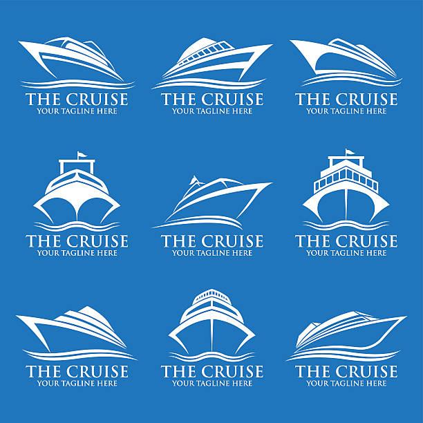 illustrations, cliparts, dessins animés et icônes de cruise ship logos - croisière