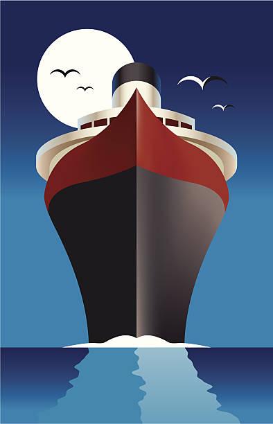 Cruise ship Passenger liner vector art illustration
