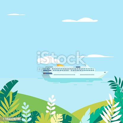 Vector illustration of cruise ship passing tropical islands