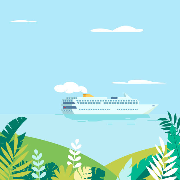 Cruise ship passing tropical islands Vector illustration of cruise ship passing tropical islands cruise vacation stock illustrations