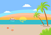 Cruise ship sailing in ocean, summer beach landscape with blue sea, hot sand and endless sky clouds, palm trees, tropical beach vector summer scenery