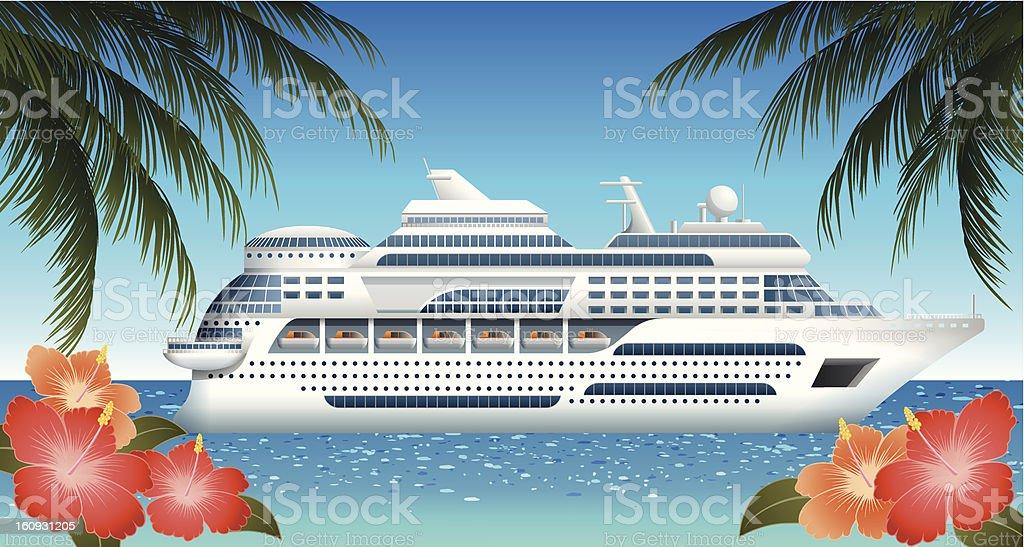 Cruise ship sailing through a tropical paradise vector art illustration