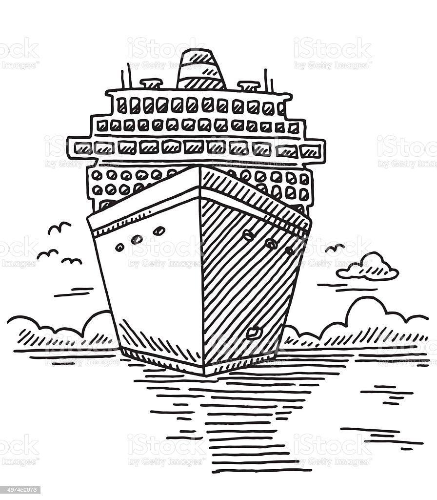 Navire De Croisière De Dessin De Vacances à La Mer Vecteurs