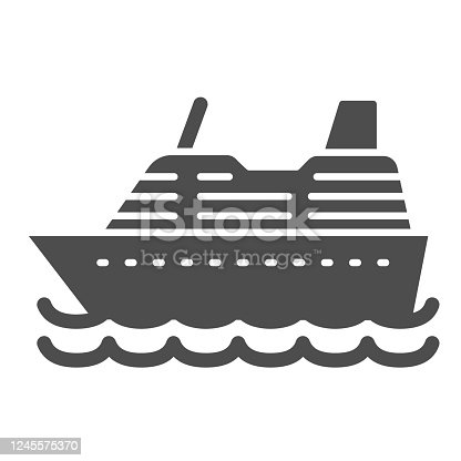 istock Cruise ship solid icon, ocean concept, Marine sail boat sign on white background, sea cruise liner icon in glyph style for mobile concept and web design. Vector graphics. 1245575370
