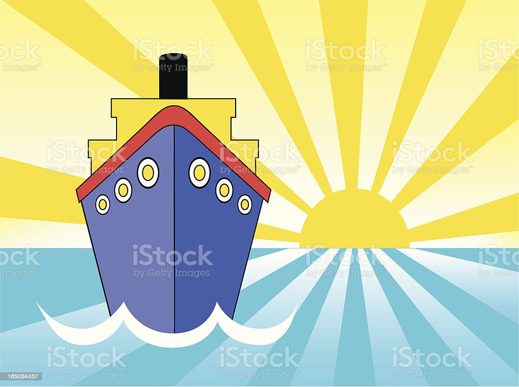 cruise ship sunset vector art illustration