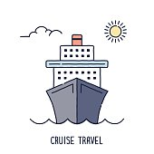 Hand drawn line icon cruise ship symbol for summer travel compositions. Modern style vector illustration concept.