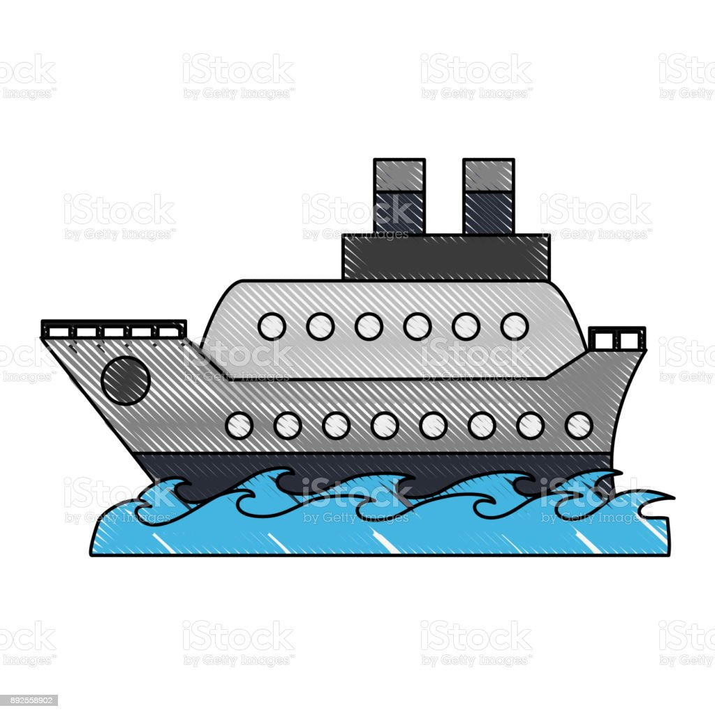 Cruise ship symbol vector art illustration