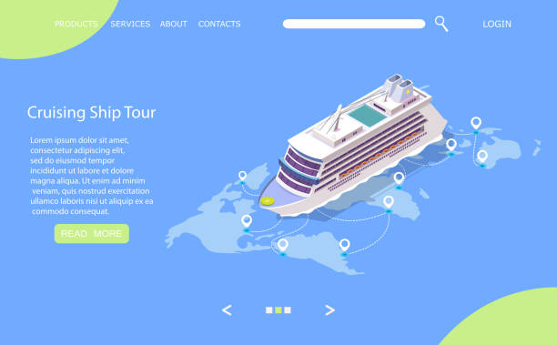 Cruise ship tour vector website landing page design template Cruise ship tour vector website template, web page and landing page design for website and mobile site development. Isometric cruise liner on world map with location pins. Sea travel, voyage concept. cruise vacation stock illustrations