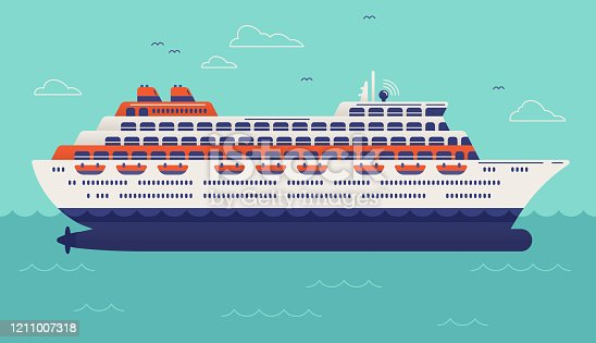 Cruise ship illustration sailing on the ocean or sea.