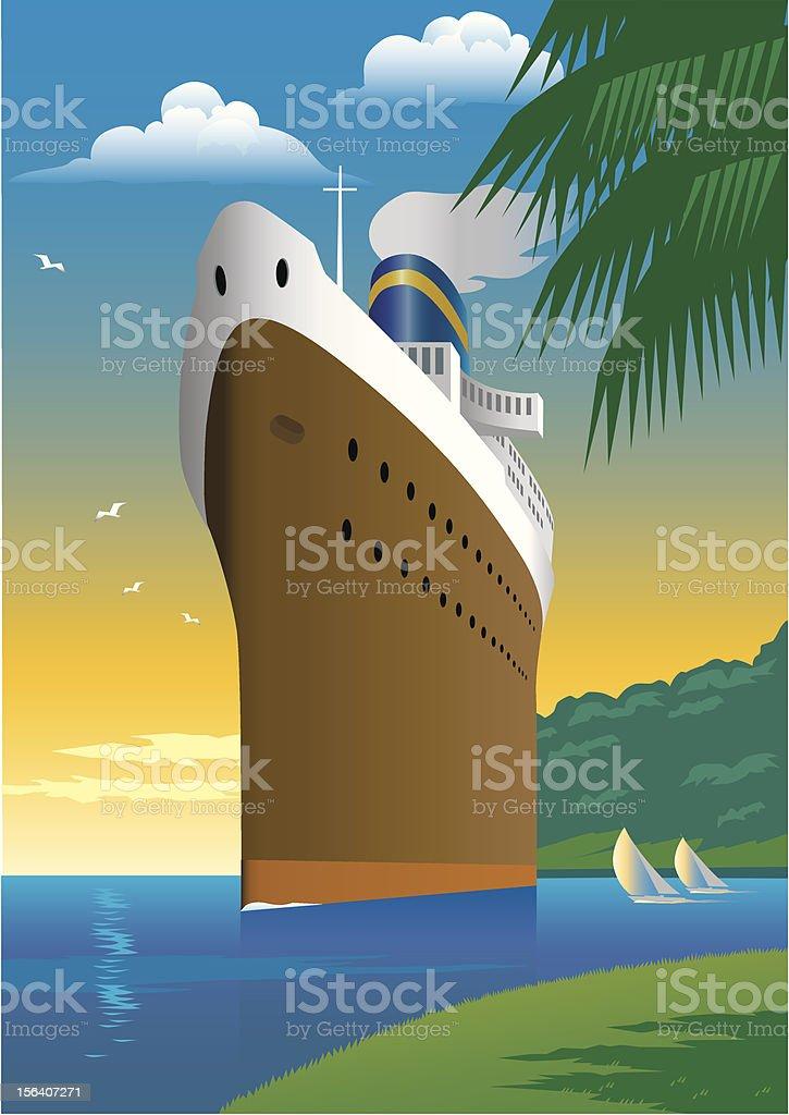 Barco crucero - ilustración de arte vectorial