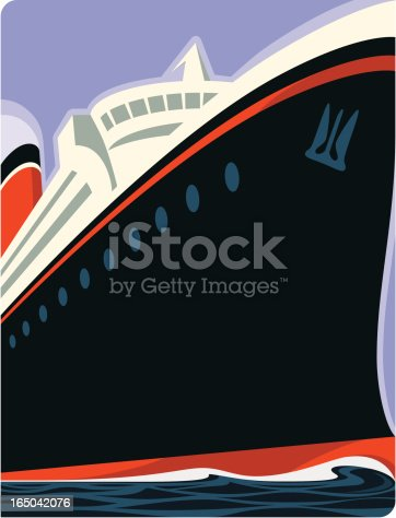 Retro cruise ship in the manner of classic travel posters. ZIP includes AI8 EPS and a 300 dpi JPEG at 5.25 x 4 inches.