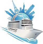an editable vector illustration of cruise ship with some famous places of the world.