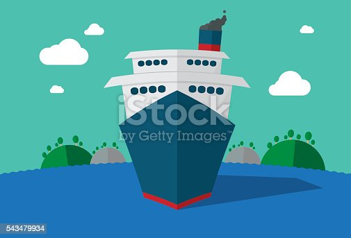 Illustration of passenger ship or liner sailing on ocean