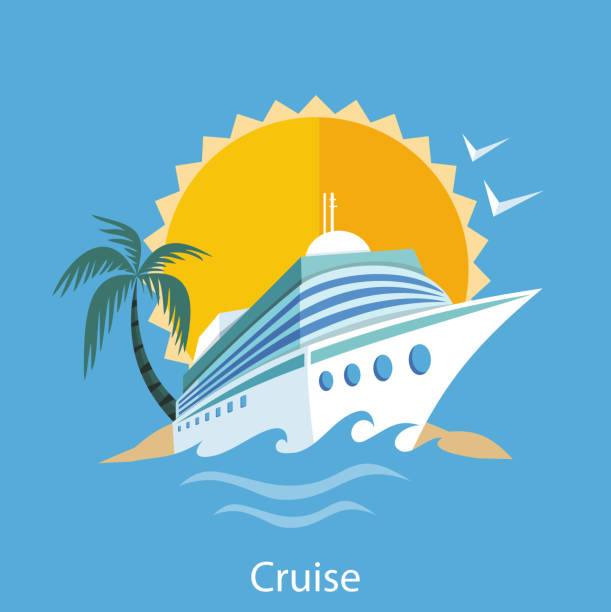 Cruise Ship. Water Tourism Cruise ship in clear blue water with palm tree. Water tourism. Icons of traveling, planning summer vacation, tourism. For web banners, marketing and promotional materials, presentation templates  cruise vacation stock illustrations