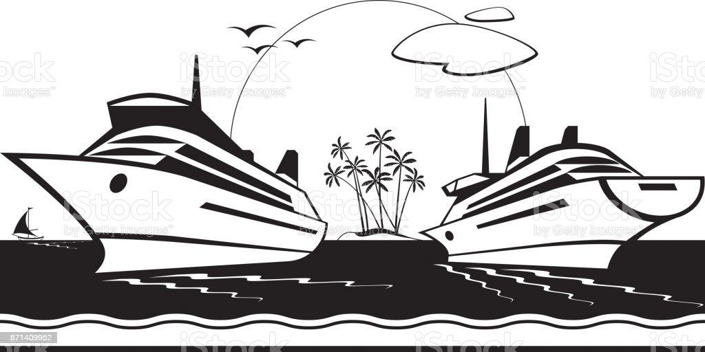 Cruise ships in the sea vector art illustration