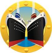 Cruise Ships Through a Porthole