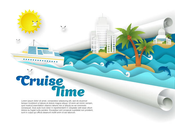 Cruise time vector paper cut poster banner template Cruise time poster banner template. Vector paper cut cruise liner floating on ocean waves, dolphins, seagulls, islands with tourist resort buildings palm trees and copy space. cruise vacation stock illustrations