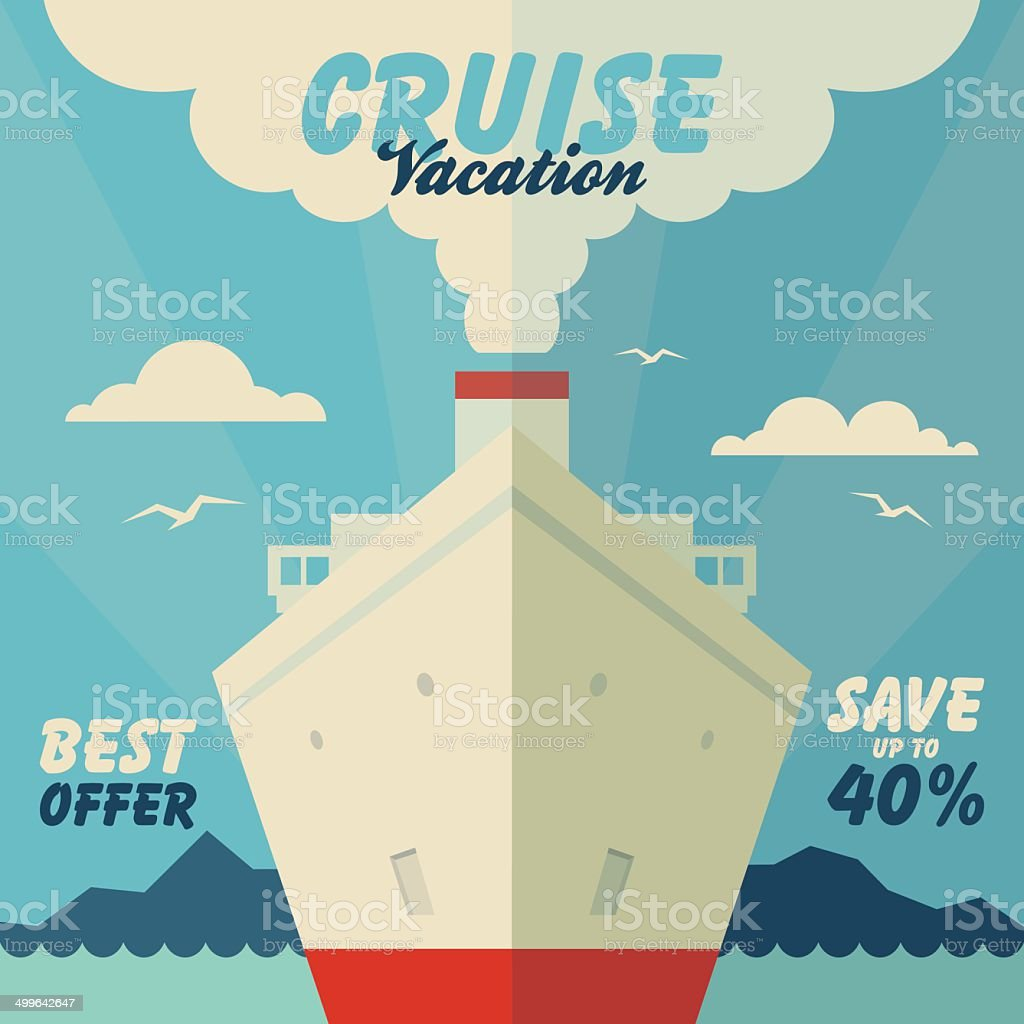 Cruise vacation and travel illustration vector art illustration