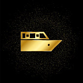 Cruiser voyage gold, icon. Vector illustration of golden particle on gold vector background