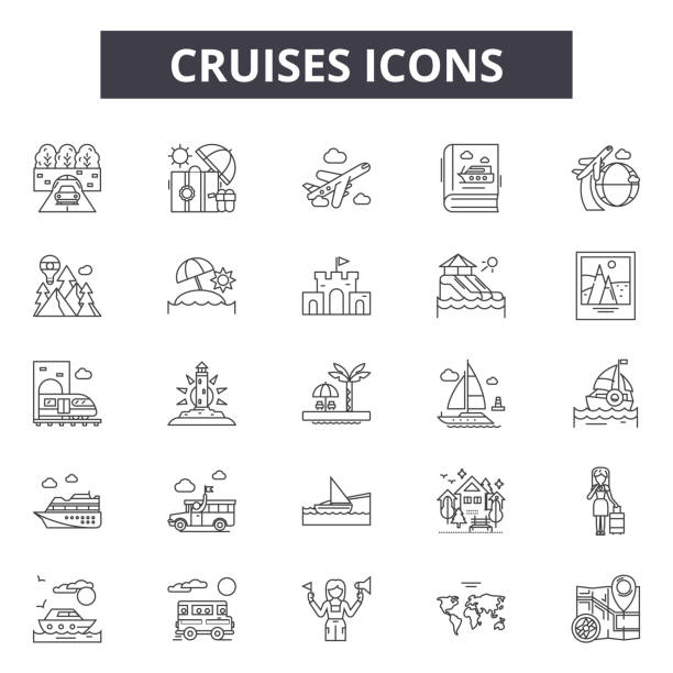 Cruises line icons, signs, vector set, linear concept, outline illustration vector art illustration