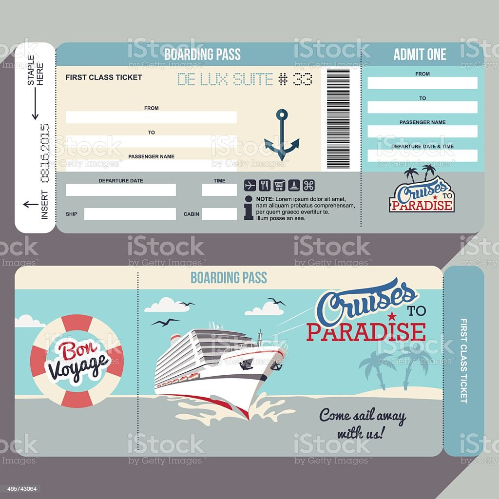 Cruises to Paradise boarding pass design vector art illustration